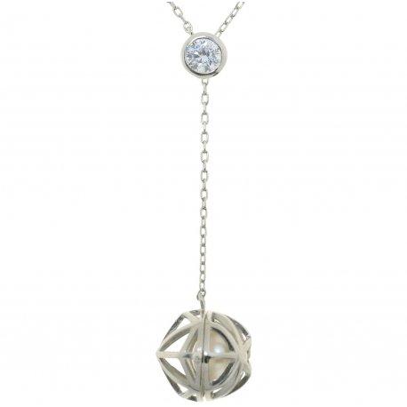 Колье женское серебряное 925* родий жемчуг Арт 12 12 1209-42+4