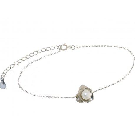 Браслет женский серебряный 925* родий жемчуг Арт 14 12 1101-18+4