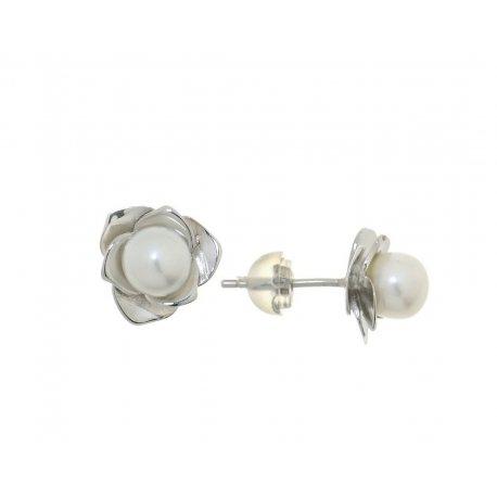 Серьги женские серебряные 925* родий культивированный жемчуг 11 12 1101