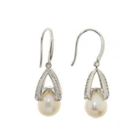 Сережки жіночі срібні 925* родій цирконій культивовані перли 11 12 1202