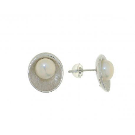 Серьги женские серебряные 925* родий культивированный жемчуг 11 12 1206