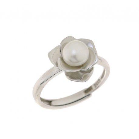 Кольцо женское серебряное 925* родий культивированный жемчуг 15 12 1101