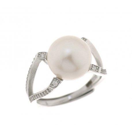 Кольцо женское серебряное 925* родий культивированный жемчуг 15 12 1202