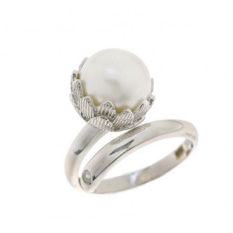 Кольцо женское серебряное 925* родий культивированный жемчуг 15 12 1204
