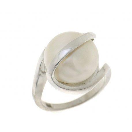 Кольцо женское серебряное 925* родий культивированный жемчуг 15 12 1303