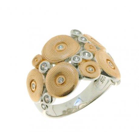 Кольцо женское серебряное 925* родий цирконий Арт 15 5 4203кб
