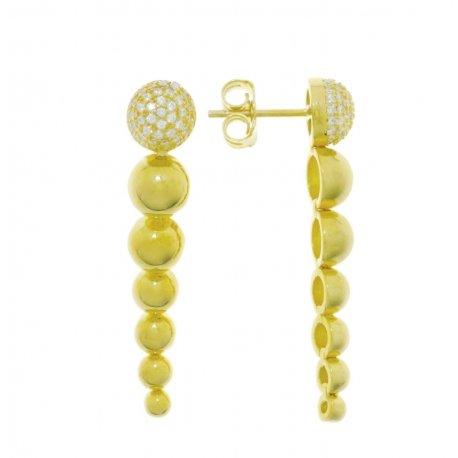 Сережки жіночі срібні 925* позолота цирконій Арт 51 5 3116