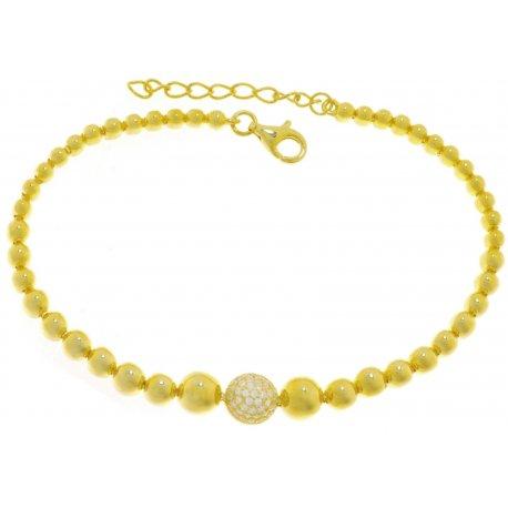 Браслет женский серебряный 925* позолота цирконий Арт 54 5 3116-17+3