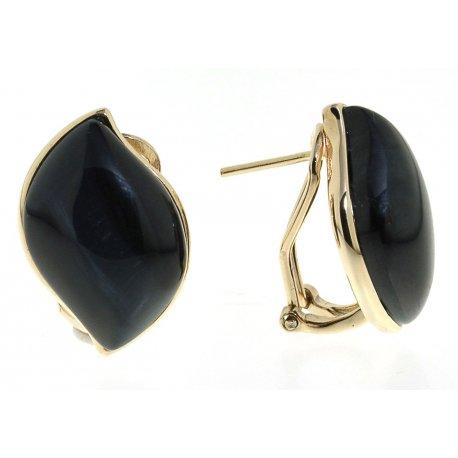 Серьги женские серебряные 925* позолота тигровый глаз Арт 51 7212